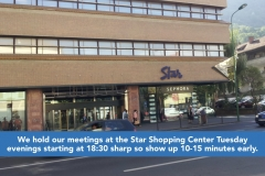 We hold our meetings at the Star Shopping Center Tuesday evenings starting at 18:30 sharp so show up 10-15 minutes early.
